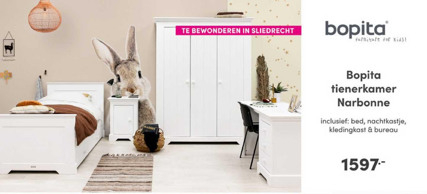 Baby & Tiener Bopita Tienerkamer Narbonne : Bed, Nachtkastje, Kledingkast & Bureau