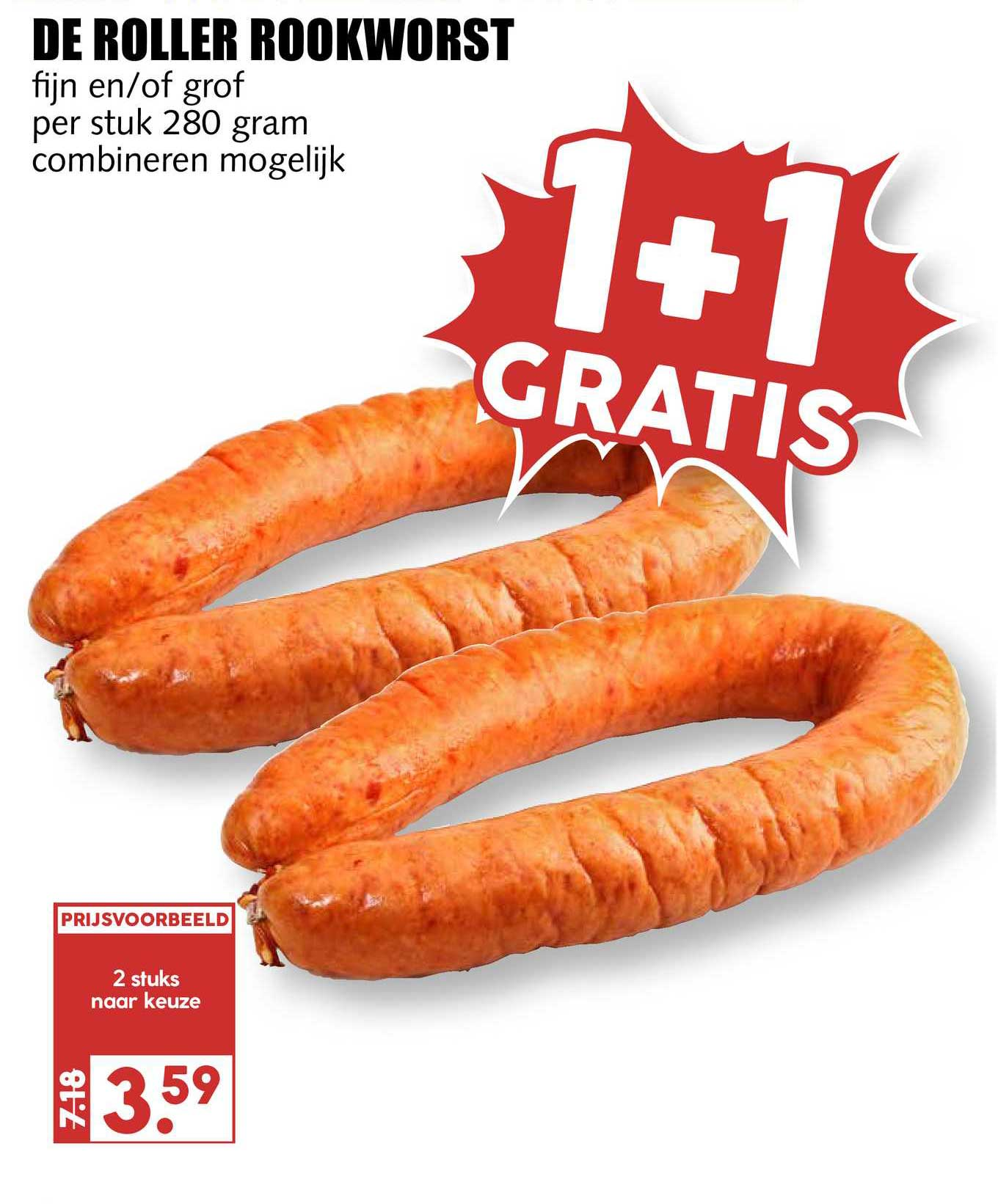 MCD Supermarkt De Roller Rookworst Fijn En-of Grof 1+1 Gratis