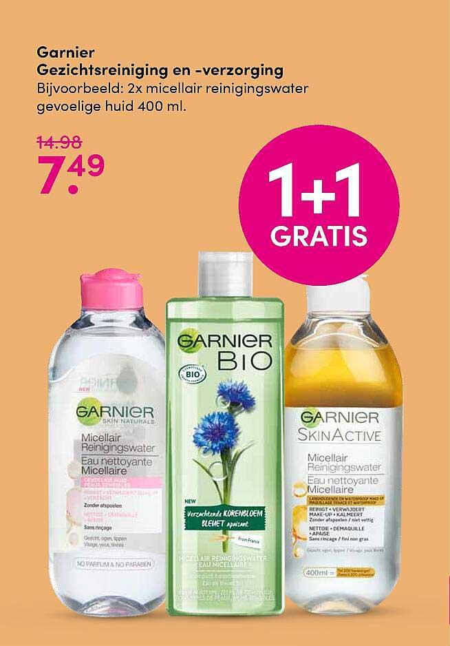 DA Garnier Gezichtsreiniging En -verzorging 1+1 Gratis
