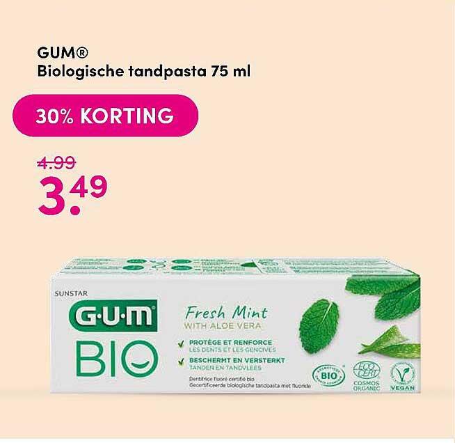 DA Gum® Biologische Tandpasta 75 Ml 30% Korting