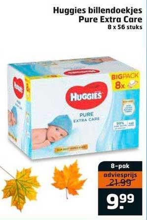Trekpleister Huggies Billendoekjes Pure Extra Care 8 X 56 Stuks