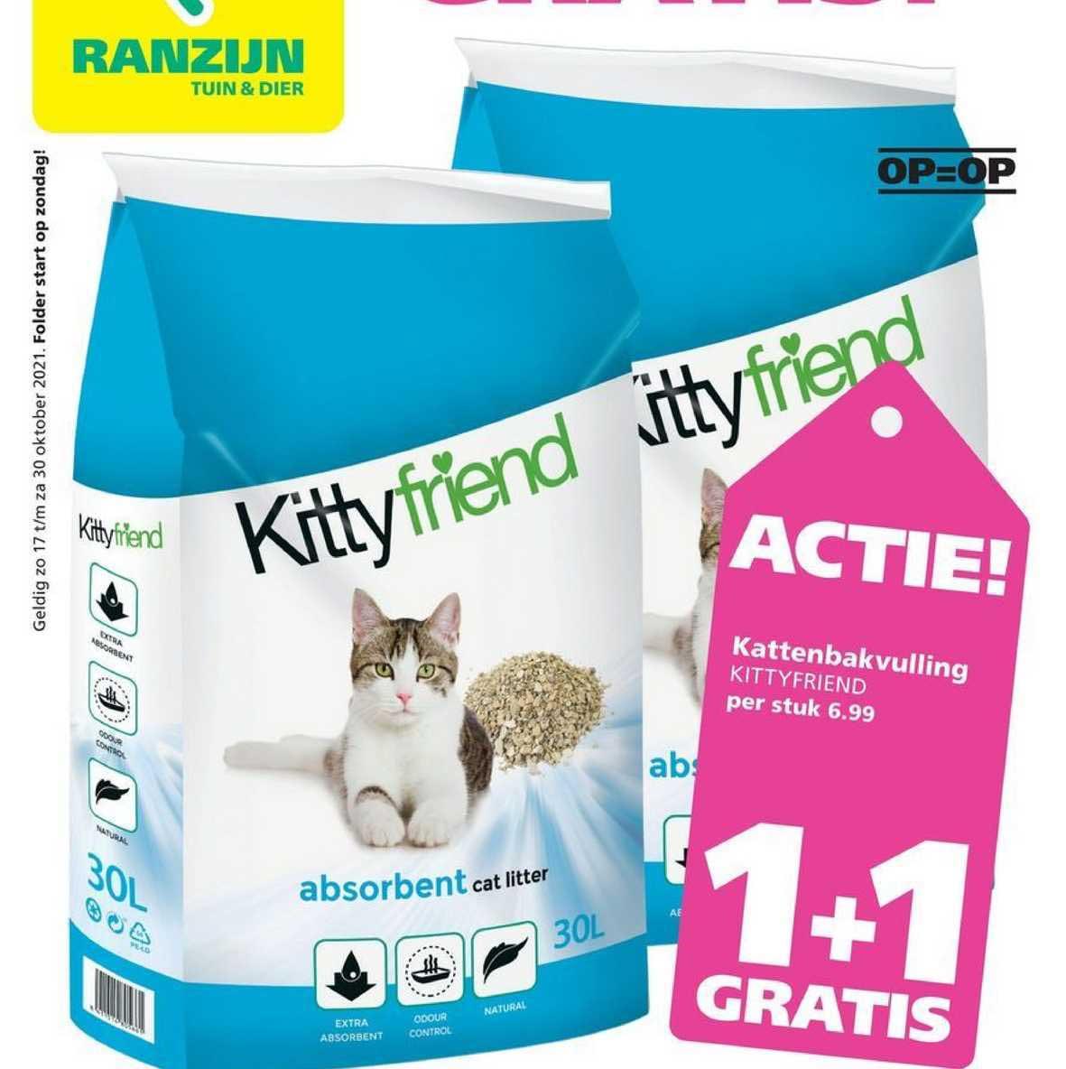 Ranzijn Tuin & Dier Kattenbakvulling Kittyfriend 1+1 Gratis