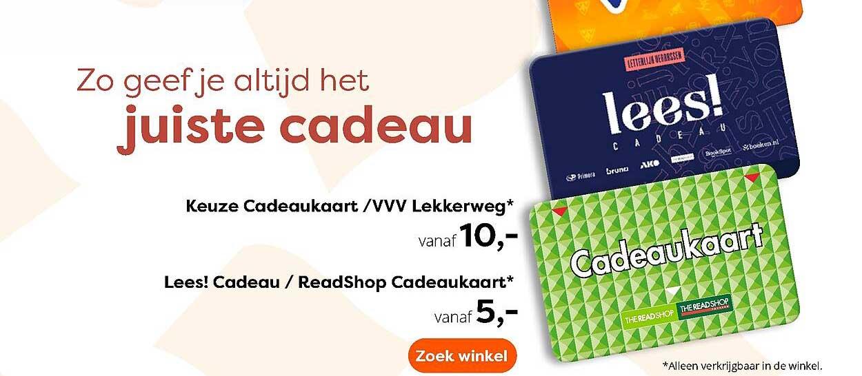 The Read Shop Keuze Cadeaukaart - VVV Lekkerweg Of Lees! Cadeau - ReadShop Cadeaukaart