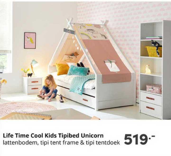 Baby & Tiener Life Time Cool Kids Tipibed Unicorn Lattenbodem, Tipi Tent Frame & Tipi Tentdoek