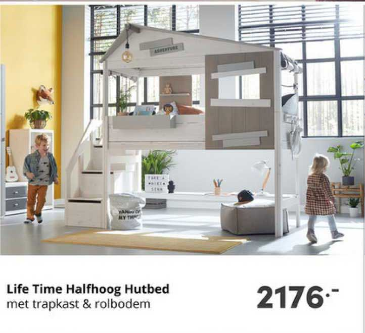 Baby & Tiener Life Time Halfhoog Hutbed Met Trapkast & Rolbodem