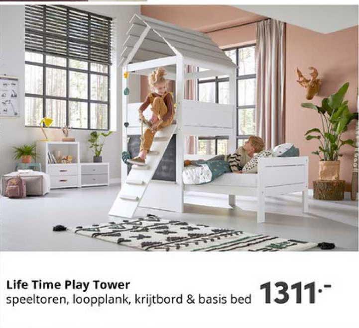 Baby & Tiener Life Time Play Tower Speeltoren, Loopplank, Krijtbord & Basis Bed