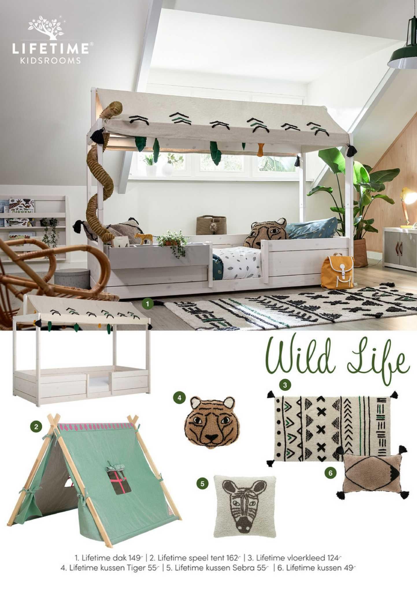 Baby & Tiener Lifetime Dak, Lifetime Speel Tent, Lifetime Vloerkleed, Lifetime Kussen Tiger, Lifetime Kussen Sebra Of Lifetime Kussen