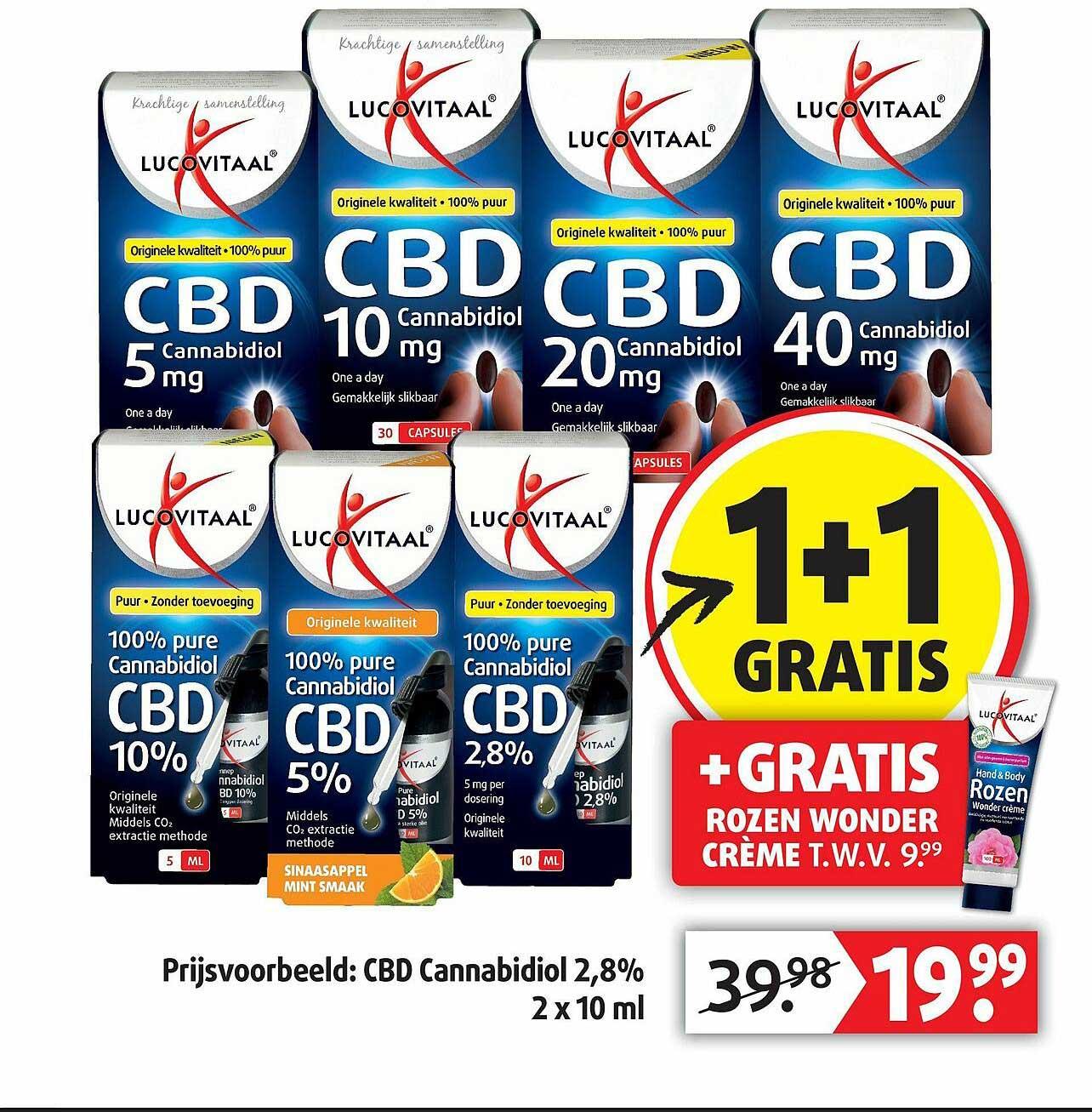 Lucovitaal Lucovitaal CBD Cannabidiol 2,8% 1+1 Gratis