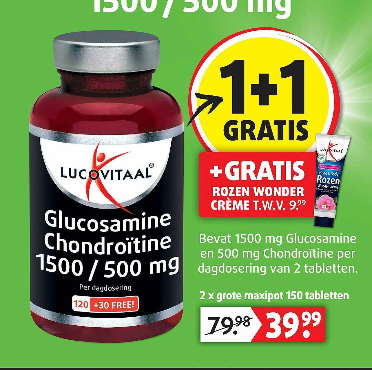 Lucovitaal Lucovitaal Glucosamine Chondroïtine 1500 - 500 Mg 1+1 Gratis