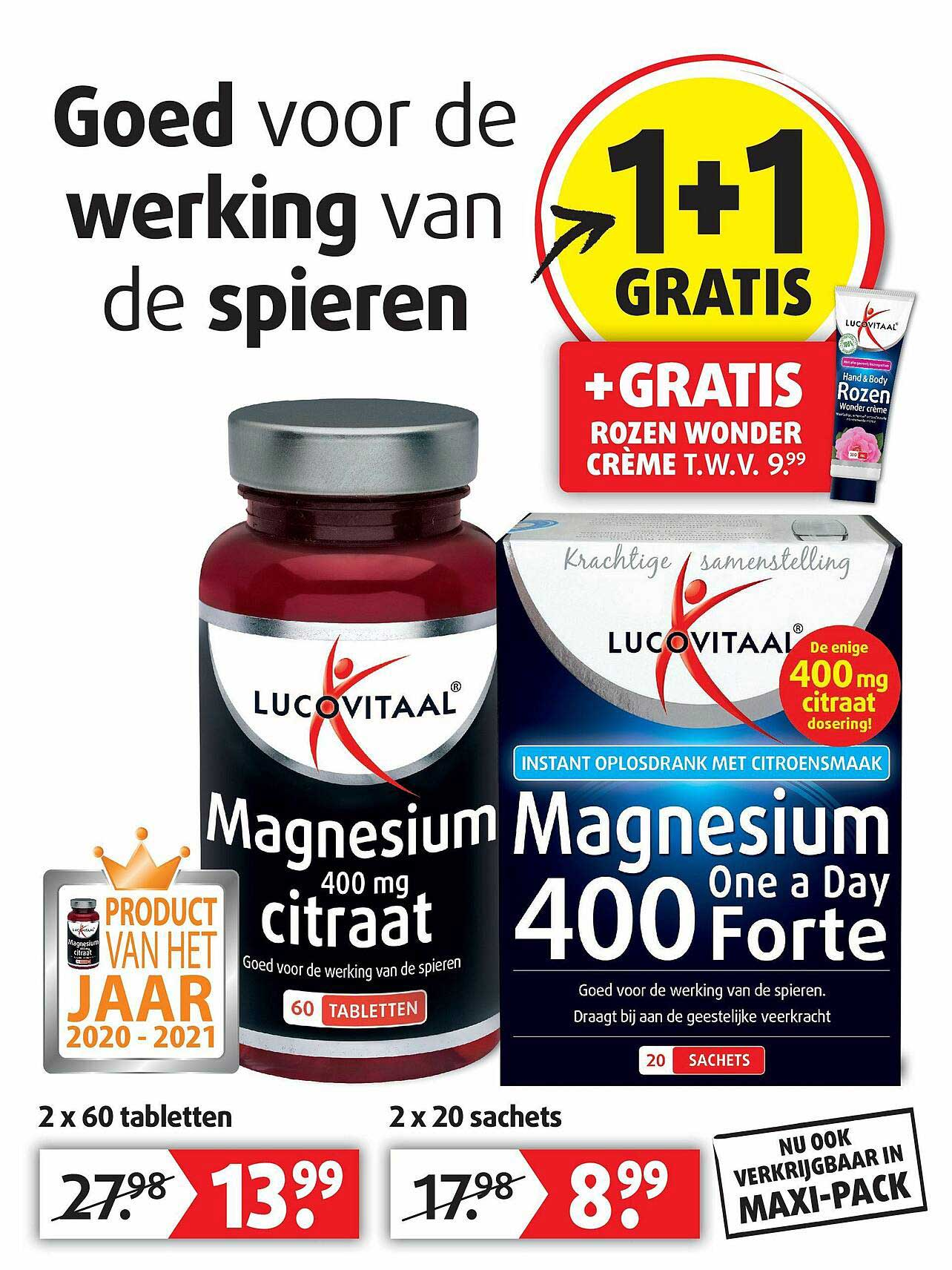 Lucovitaal Lucovitaal Magnesium 400 Mg Citraat Of Magnesium One A Day 400 Forte 1+1 Gratis
