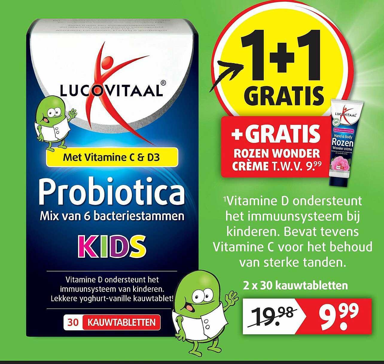 Lucovitaal Lucovitaal Probiotica Met Vitamine C & D3 1+1 Gratis