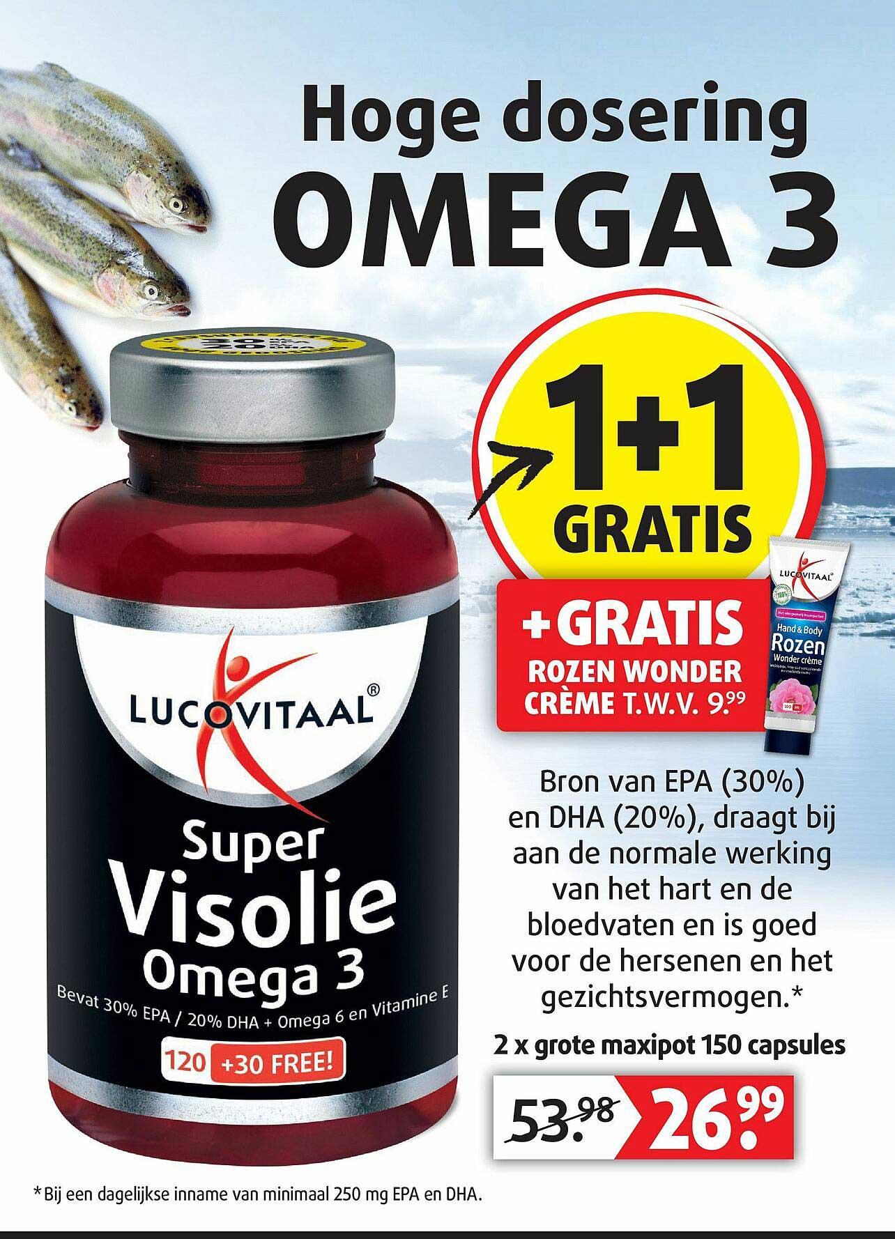 Lucovitaal Lucovitaal Super Visolie Omega 3 1+1 Gratis