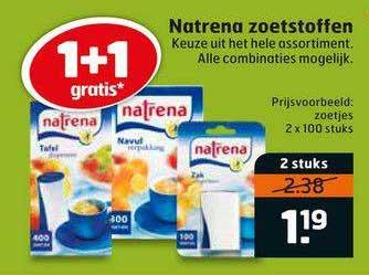 Trekpleister Natrena Zoetstoffen 1+1 Gratis