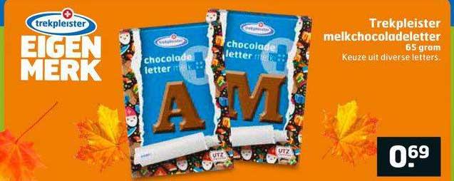 Trekpleister Trekpleister Melkchocoladeletter 65 Gram