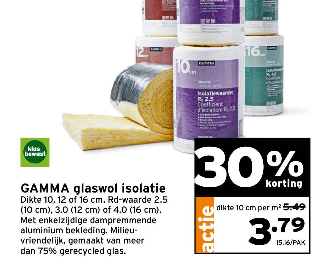 Gamma Gamma Glaswol Isolatie 30% Korting