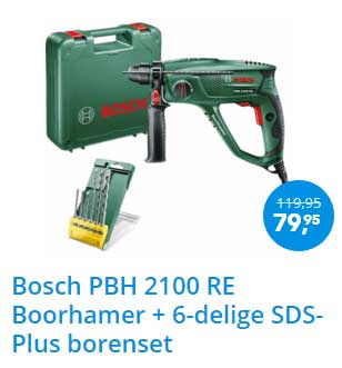 Coolblue Bosch PBH 2100 RE Boorhamer + 6 Delige SDS Plus Borenset