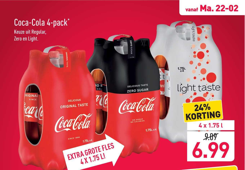 ALDI Coca-Cola 4-Pack 24% Korting