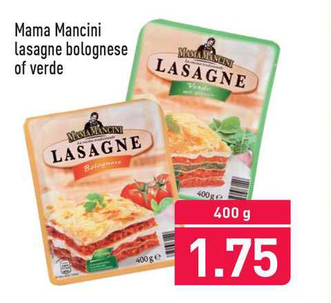 ALDI Mama Mancini Lasagne Bolognese Of Verde