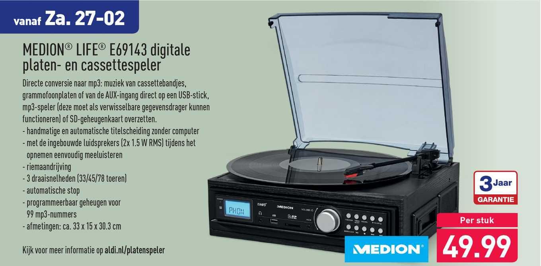 ALDI Medium Life E69143 Digitale Platen- En Cassettespeler