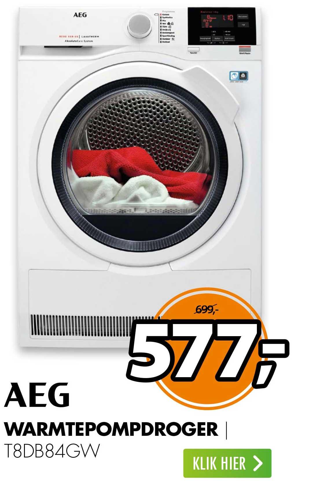 Expert AEG Warmtepompdroger T8DB84GW