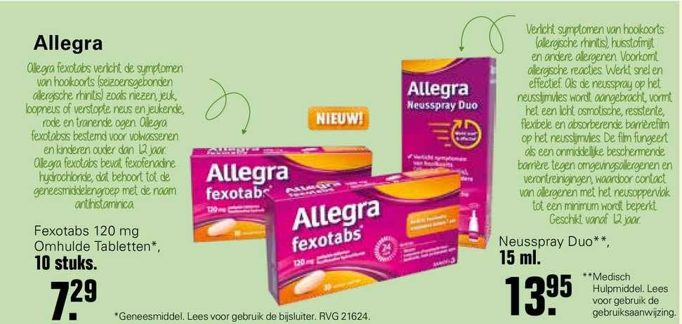 De Online Drogist Allegra Fexotabs 120mg Omhulde Tabletten Of Neusspray Duo