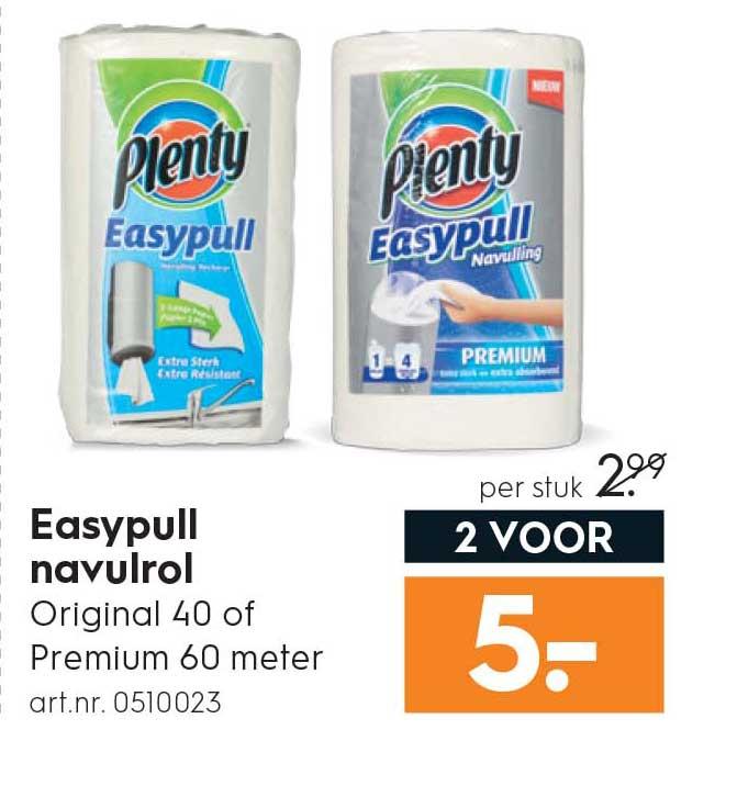 Blokker Plenty Easypull Navulrol: 2 Voor €5,-