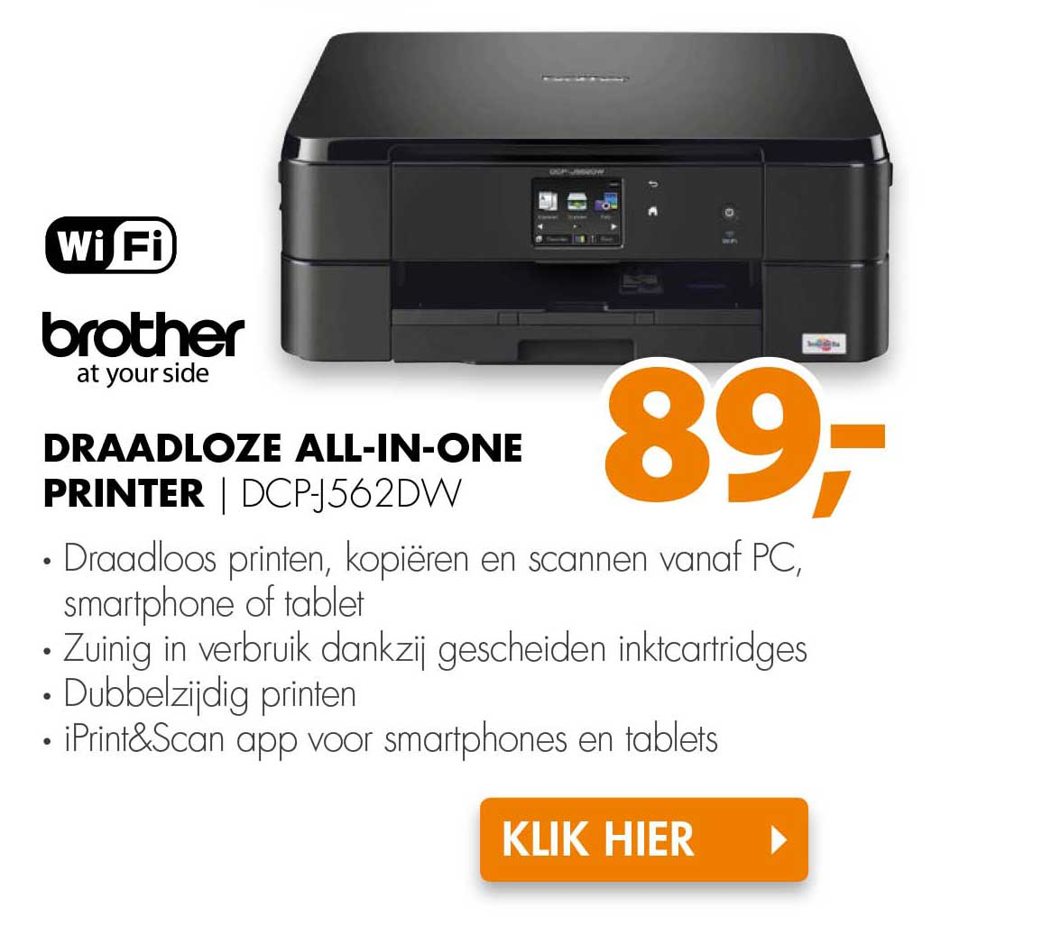 Expert Brother Draadloze All In One Printer DCP-J562DW