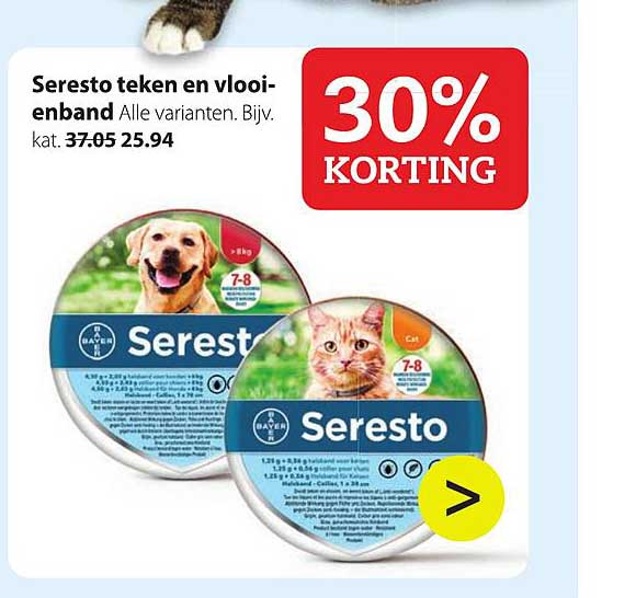 Pets Place Seresto Teken En Vlooienband: 30% Korting