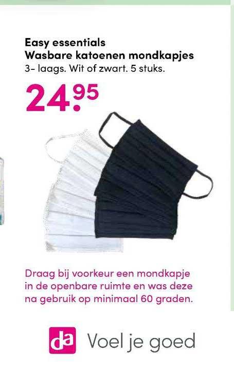 DA Easy Essentials Wasbare Katoenen Mondkapjes