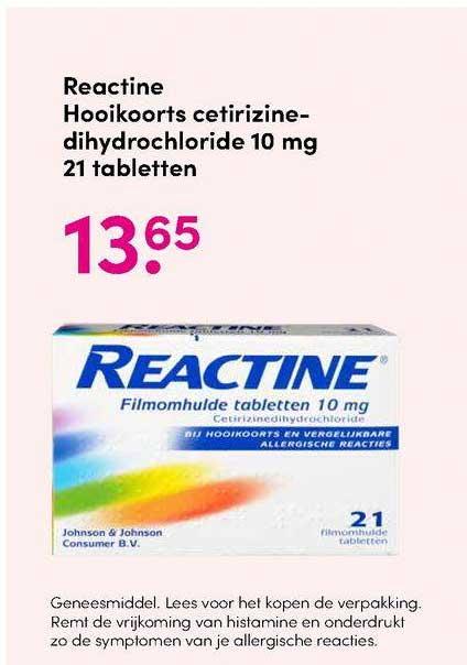 DA Reactine Hooikoorts Cetirizinedihydrochloride 10 Mg 21 Tabletten