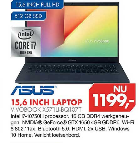 Vobis Asus 15,6 Inch Laptop Vivobook X571LI-BQ107T