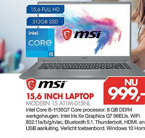 Vobis MSI 15,6 Inch Laptop Modern 15 A11M-015NL