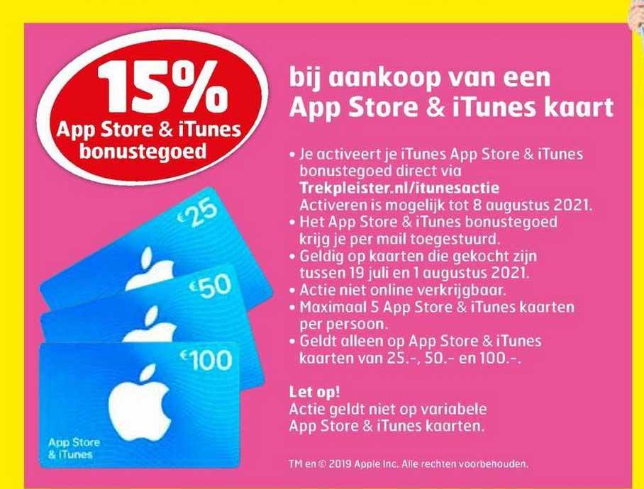 Trekpleister 15% App Store & ITunes Bonustegoed