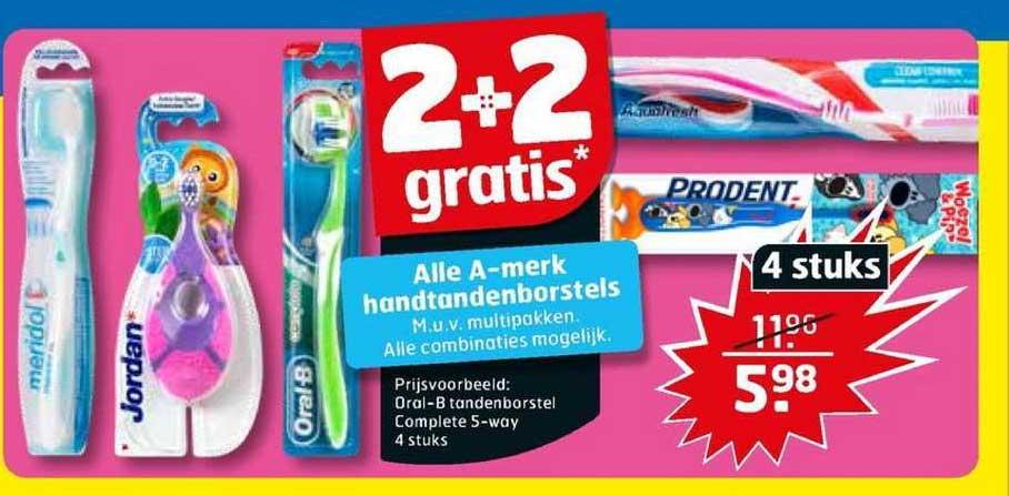 Trekpleister Alle A-merk Handtandenborstels 2+2 Gratis