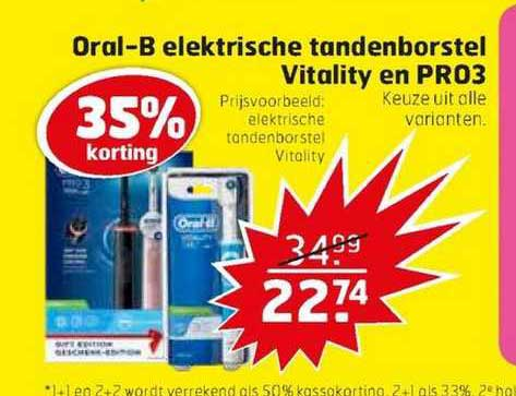 Trekpleister Oral-B Elektrische Tandenborstel Vitality En PRO3 35% Korting