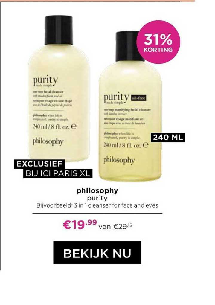 ICI PARIS XL Philosophy Purity 3 In 1 Cleanser For Face And Eyes 31% Korting