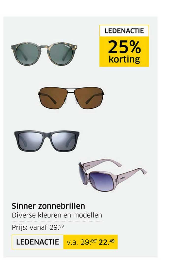 ANWB Sinner Zonnebrillen Ledenactie Tot 25% Korting