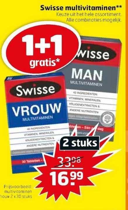 Trekpleister Swisse Multivitaminen 1+1 Gratis