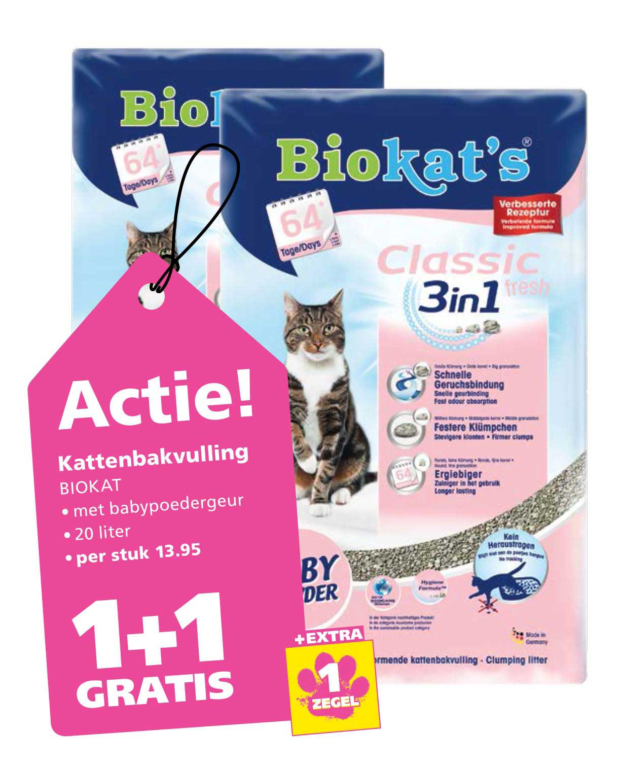 Ranzijn Tuin & Dier Biokat Kattenbakvulling: 1+1 Gratis