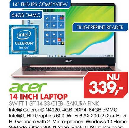 Vobis Acer 14 Inch Laptop Swift 1 SF114-33-C1EB - Sakura Pink