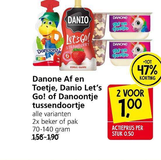 Jan Linders Danone Af En Toetje, Danio Let's Go! Of Danootje Tussendoortje Tot 47% Korting
