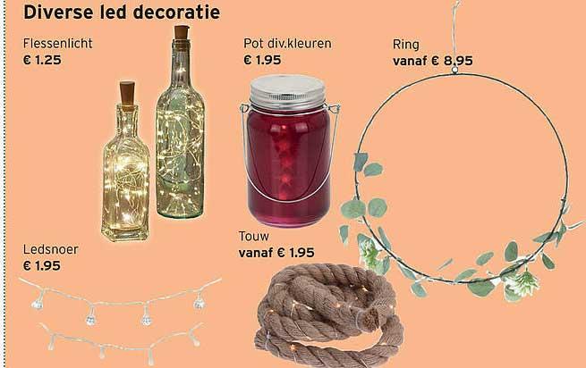 Heuts Diverse Led Decoratie : Flessenlicht, Ledsnoer, Touw, Pot Div. Kleuren Of Ring