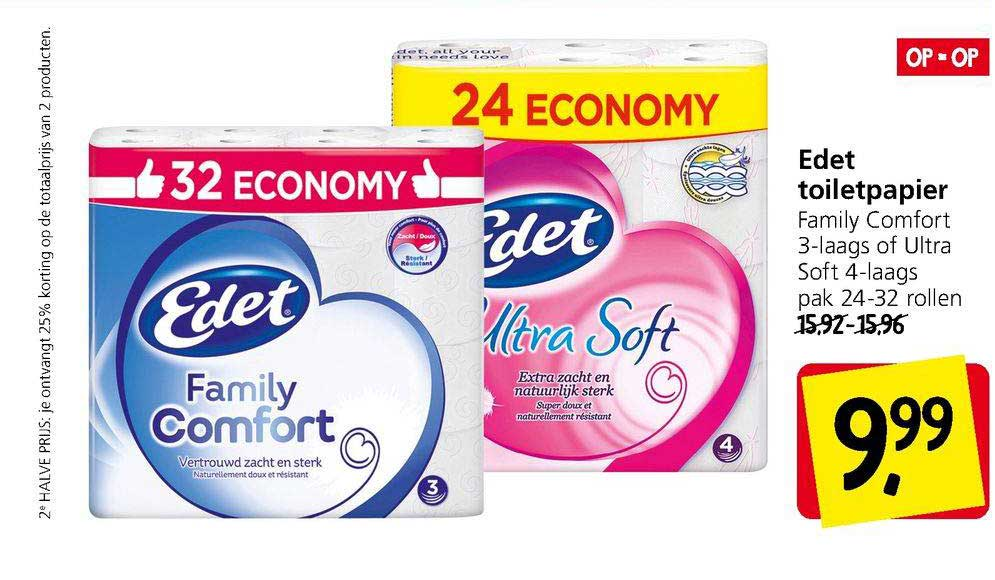 Jan Linders Edet Toiletpapier Family Comfort 3-Laags Of Ultra Soft 4-Laags