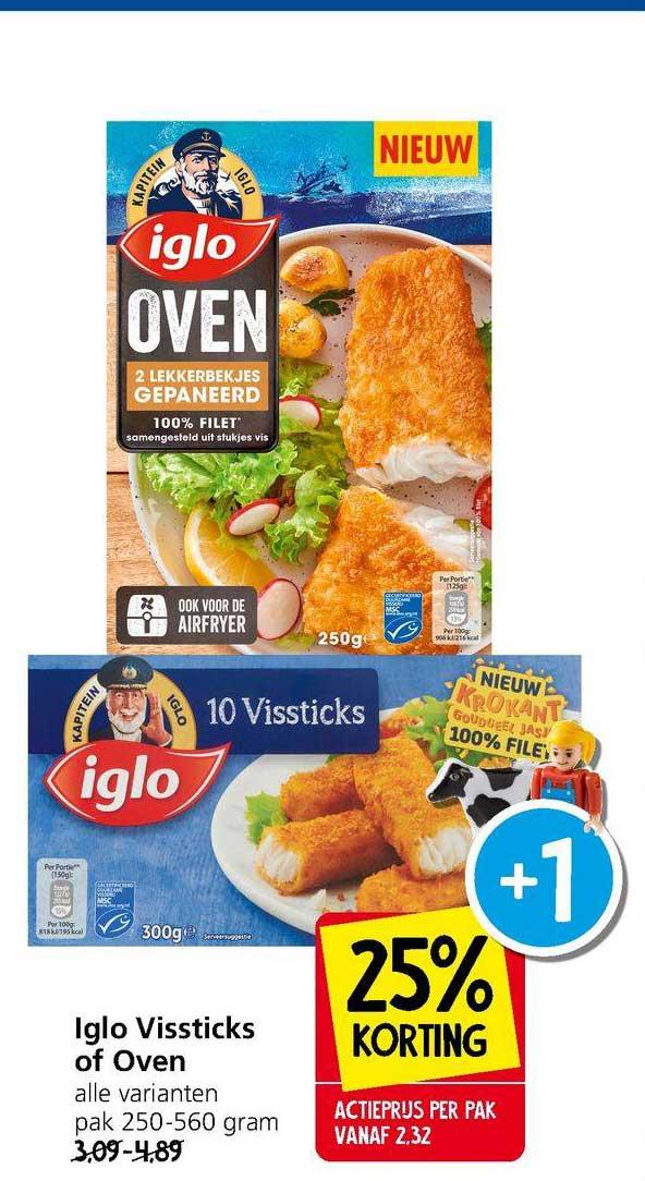 Jan Linders Iglo Vissticks Of Oven 25% Korting