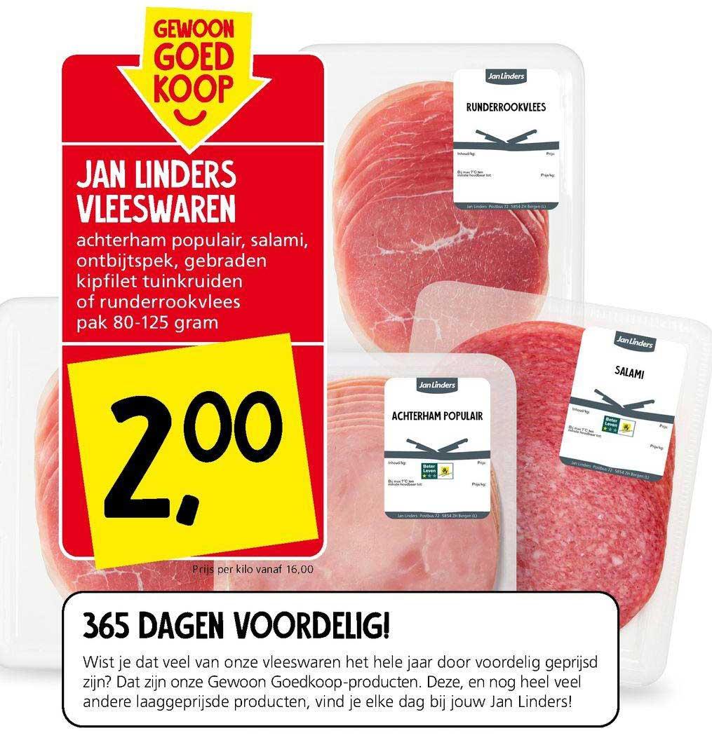 Jan Linders Jan Linders Vleeswares Achterham Populair, Salami, Ontbijtspek, Gebraden Kipfilet Tuinkruiden Of Runderrookvlees