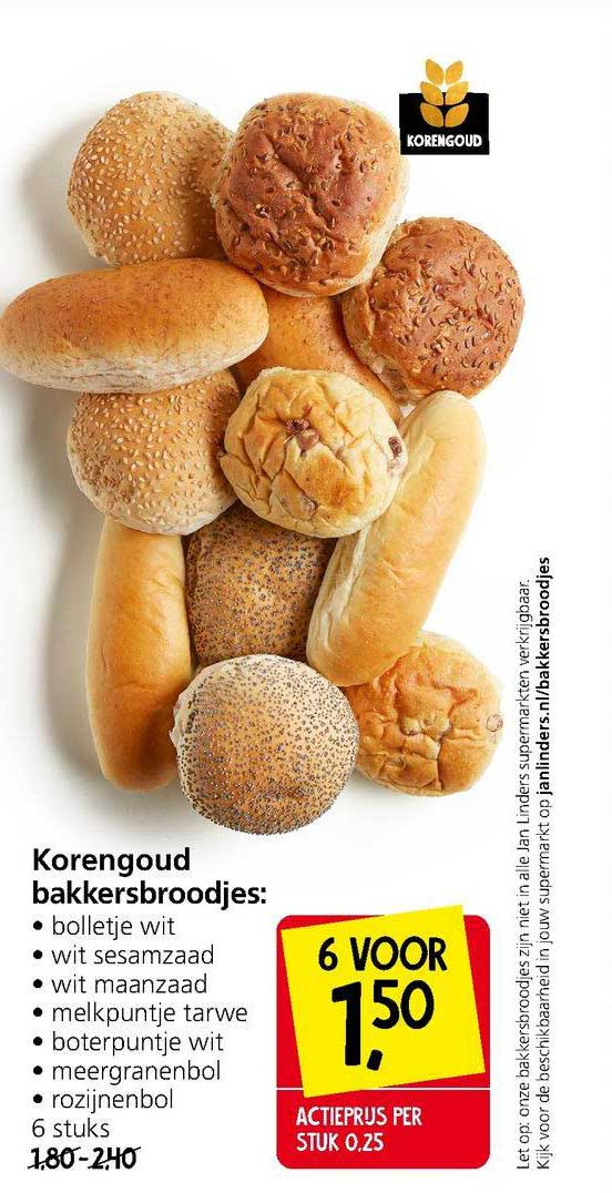 Jan Linders Korengoud Bakkersbroodjes: Bolletje Wit, Wit Sesamzaad, Wit Maanzaad, Melkpuntje Tarwe, Boterpunte Wit, Meergranenbol Of Rozijnenbol