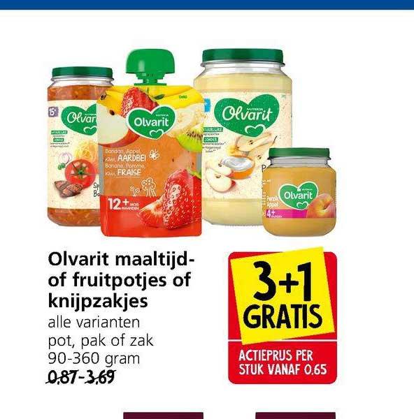 Jan Linders Olvarit Maaltijd- Of Fruitpotjes Of Knijpzakjes 3+1 Gratis