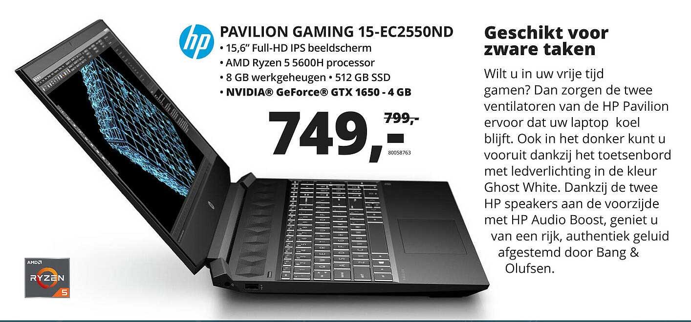 Paradigit HP Pavilion Gaming 15-EC2550ND Laptop