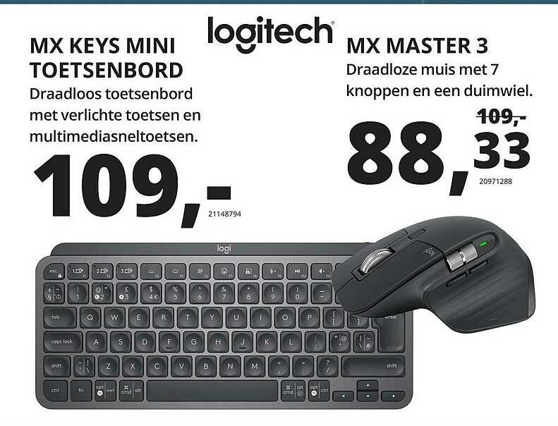 Paradigit Logitech MX Keys Mini Toetsenbord Of MX Master 3 Draadloze Muis