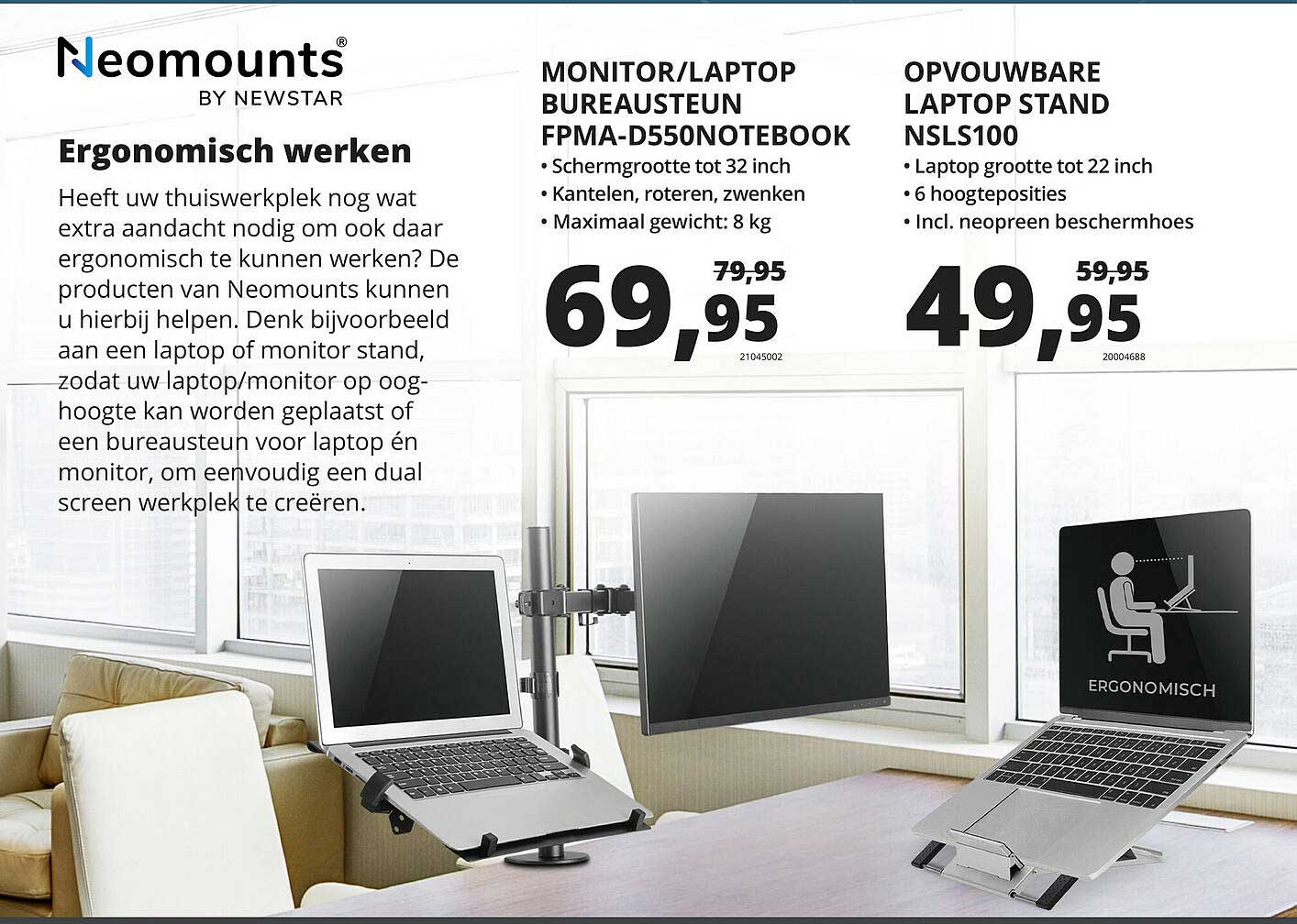 Paradigit Neomounts By Newstar Monitor-Laptop Bureausteun FPMA-D550Notebook Of Opvouwbare Laptop Stand NSLS100